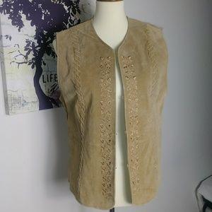 Genuine Leather Vintage Boho Embroidered Vest